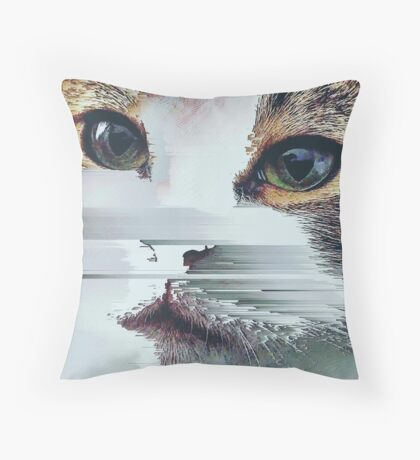 Faded Cat Glitch That Throw Pillow
