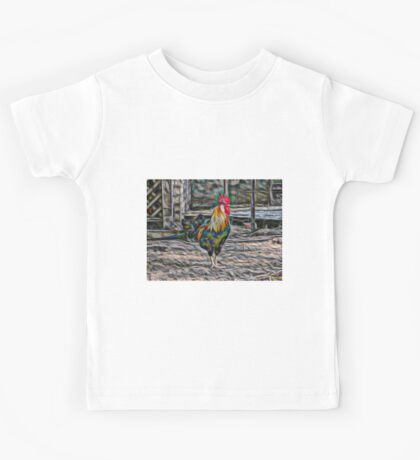 Bold Abstract Rooster Kids Tee