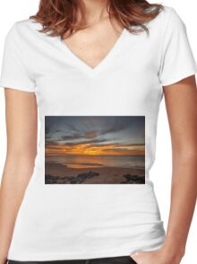 Golden Clouds Women's Fitted V-Neck T-Shirt