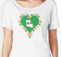 Irish Louisiana Fleur de Lis Heart  Women's Relaxed Fit T-Shirt
