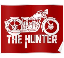 The Hunter - Ariel Motorcycle (white on red) Poster