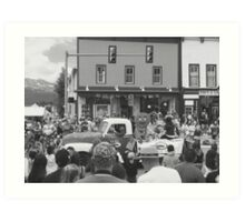 Black and White Photo of Gingerbread Man in Parade Art Print