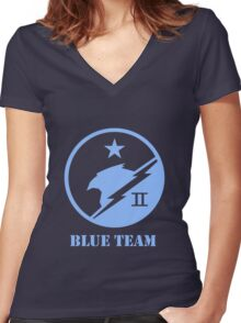 Blue Team Spartans Women's Fitted V-Neck T-Shirt
