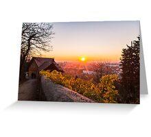 sunset on the city of Ljubljana Greeting Card