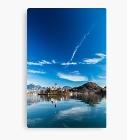 morning at the lake of Bled Canvas Print
