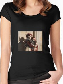 Couple in Red and Cream at Venice Carnival Women's Fitted Scoop T-Shirt