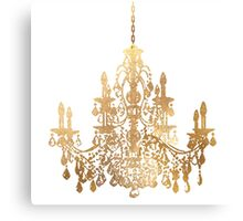 Crystal Chandelier in Faux Gold Canvas Print