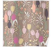 Spring flower pattern, tulips and lilies, 003 Poster