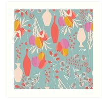 Spring flower pattern, tulips and lilies, 004 Art Print
