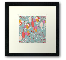 Spring flower pattern, tulips and lilies, 004 Framed Print