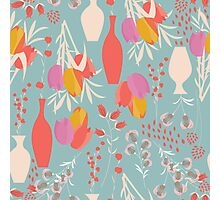 Spring flower pattern, tulips and lilies, 004 Photographic Print