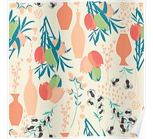 Spring flower pattern, tulips and lilies, 006 Poster