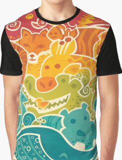 Animal Rainbow - cream Graphic T-Shirt