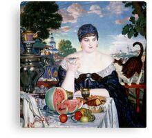 Boris Kustodiev - Merchant s Wife at Tea 1918 Woman Portrait  Canvas Print