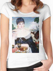 Boris Kustodiev - Merchant s Wife at Tea 1918 Woman Portrait  Women's Fitted Scoop T-Shirt