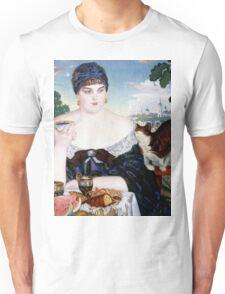 Boris Kustodiev - Merchant s Wife at Tea 1918 Woman Portrait  Unisex T-Shirt