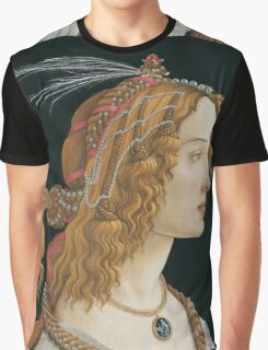 Botticelli  - Idealized Portrait of a Lady Portrait 1480 Woman Portrait Beauty Graphic T-Shirt