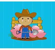 Rancher Dude With Cute Pigs (Kawaii Style) Photographic Print