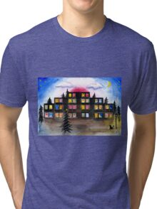 Building with Christmas Lights Tri-blend T-Shirt