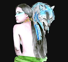 Native girl and her wolf Hoodie