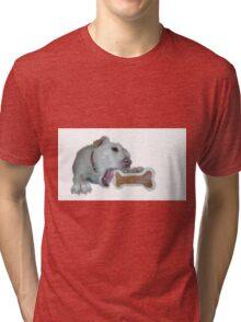 cute dog enjoys its bone Tri-blend T-Shirt