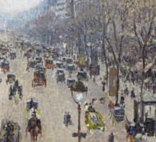 Camille Pissarro - Boulevard Montmartre, morning, cloudy weather 1897 French Impressionism Landscape Sticker