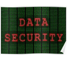 Data Security in Binary Green and Red Poster