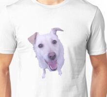 cute white dog looking up Unisex T-Shirt