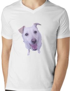 cute white dog looking up Mens V-Neck T-Shirt