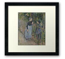 Camille Pissarro - Conversation  1881 French Impressionism Landscape Framed Print