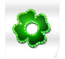 Shine lucky clover with shadow Poster