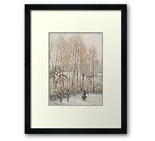 Camille Pissarro - Morning Sunlight on the Snow, Eragny-sur-Epte 1895  French Impressionism Landscape Framed Print