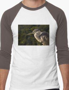 Focused Hunter - a Great Blue Heron Watching for Fish Men's Baseball ¾ T-Shirt