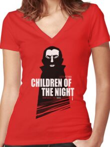 Children of the Night Walk Home Alone... At Night. Women's Fitted V-Neck T-Shirt
