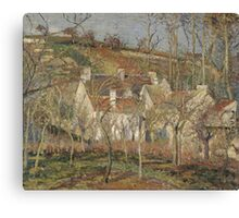 Camille Pissarro - Red roofs, corner of a village, winter 1877 French Impressionism Landscape Canvas Print