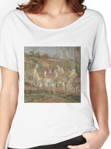 Camille Pissarro - Red roofs, corner of a village, winter 1877 French Impressionism Landscape Women's Relaxed Fit T-Shirt