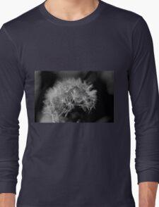 Macro Dandelion Black and White  Long Sleeve T-Shirt