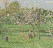 Camille Pissarro - Spring, Morning, Cloudy, Eragny 1900 French Impressionism Landscape Sticker