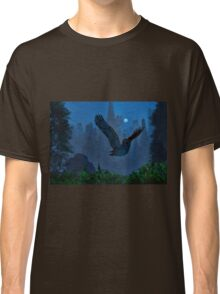 Owl In The Moonlight Shadow Classic T-Shirt