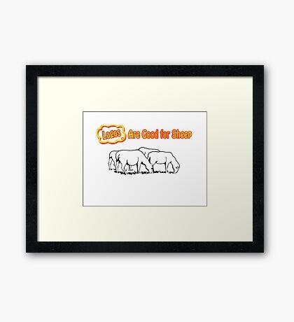 Logos are Good for Sheep White Framed Print