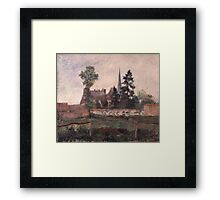 Camille Pissarro - The Church and the Farm at Eragny 1884 French Impressionism Landscape Framed Print