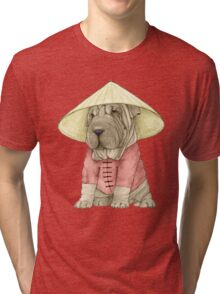 Shar Pei on The Great Wall Tri-blend T-Shirt