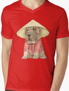 Shar Pei on The Great Wall Mens V-Neck T-Shirt