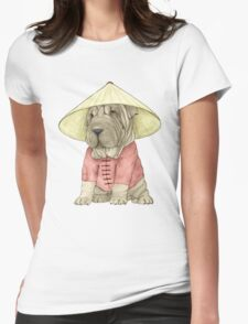 Shar Pei on The Great Wall Womens Fitted T-Shirt