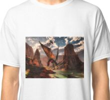 Fantasy dragon in the mountains Classic T-Shirt