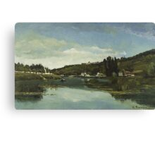 Camille Pissarro - The Marne at Chennevieres 1864  French Impressionism Landscape Canvas Print
