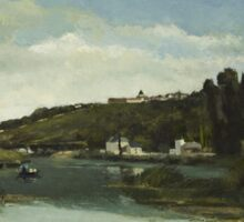 Camille Pissarro - The Marne at Chennevieres 1864  French Impressionism Landscape Sticker