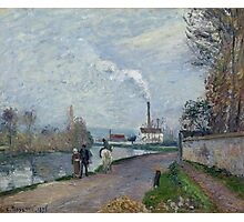 Camille Pissarro - The Oise near Pontoise in Grey Weather 1876  French Impressionism Landscape Photographic Print