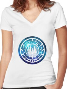 Battlestar Galactica Colonial Seal Women's Fitted V-Neck T-Shirt