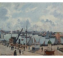 Camille Pissarro - The Outer Harbour of Le Havre, Morning, Sun, Tide 1902  French Impressionism Landscape Photographic Print